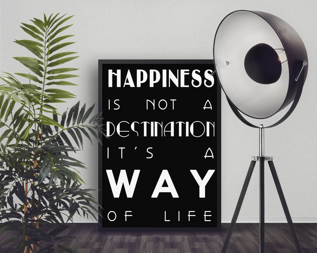 Happiness Wall Art, Positive Quote Print, Alfred D Souza Quote, inspirational print, Way of Life quotes, Motivational Poster Unframed - BookQuoteDecor