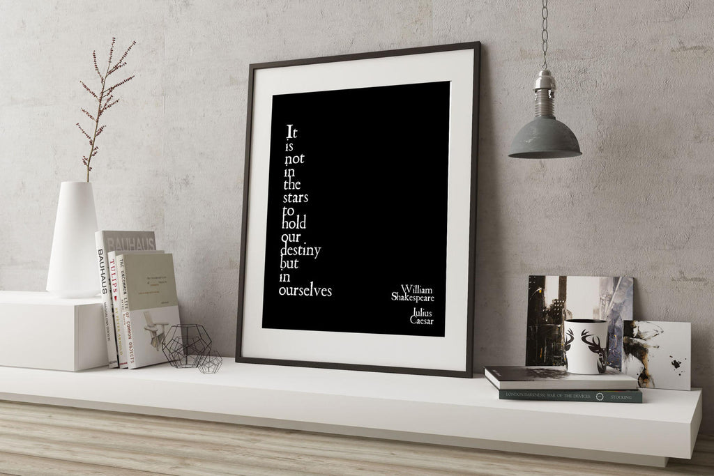 Shakespeare Print, Inspirational Quotes, Bookworm Art Print, William Shakespeare, Destiny Not in the Stars, Julius Caesar, Unframed Print - BookQuoteDecor