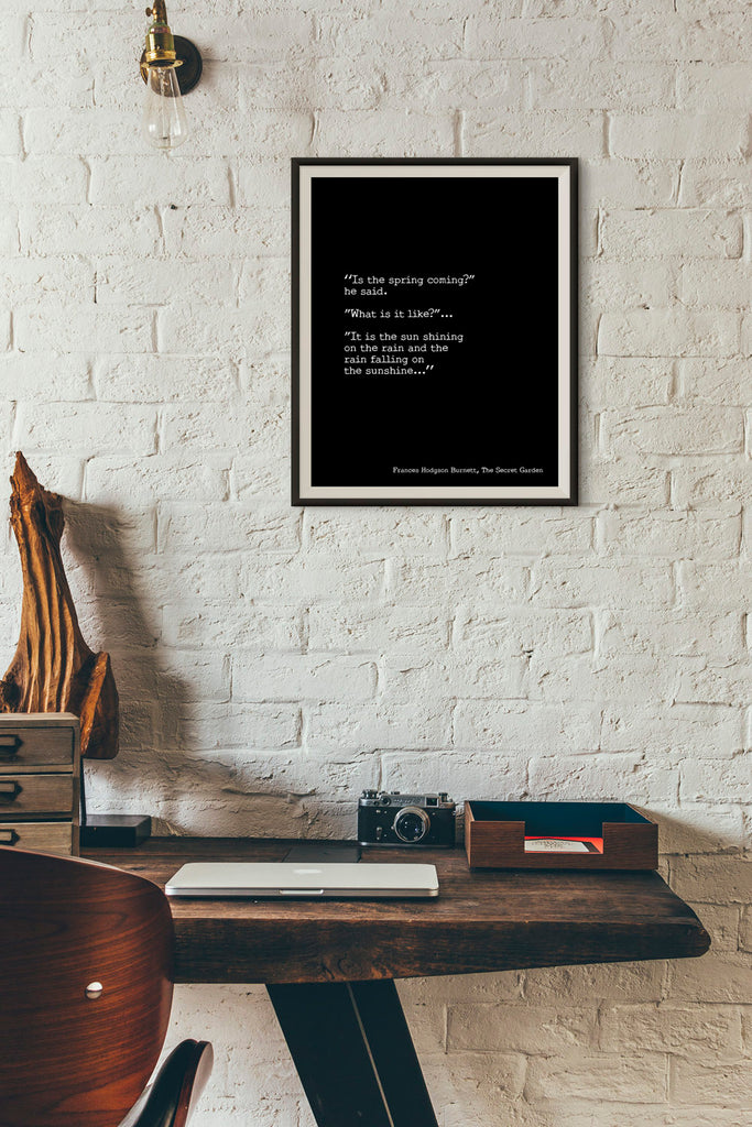 Frances Hodgson Burnett Print, The Secret Garden Quote, It is the sun shining on the rain and the rain falling on the sunshine Unframed - BookQuoteDecor