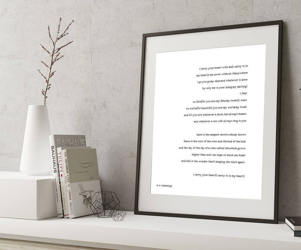 poetry quote art, ee cummings art, ee cummings print art, i carry your heart wall art, unframed wedding poem print, black & white art decor - BookQuoteDecor