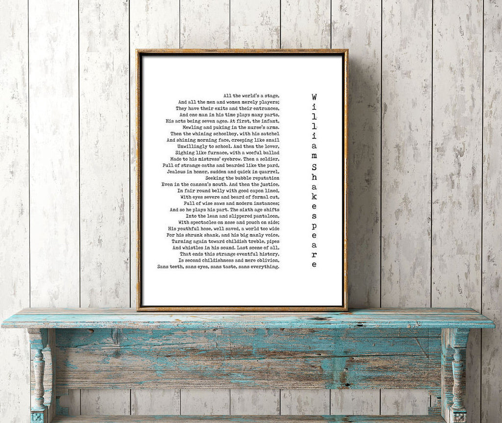 All The World's A Stage Shakespeare Quote Print - BookQuoteDecor