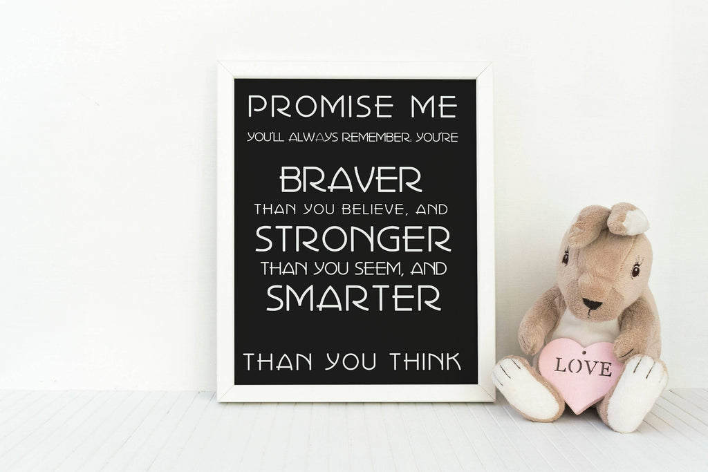 Pooh Art Print, Positive Quote, AA Milne Quote, inspirational poster, Winnie the Pooh quotes, Pooh Wall Art, encouraging art print Unframed - BookQuoteDecor