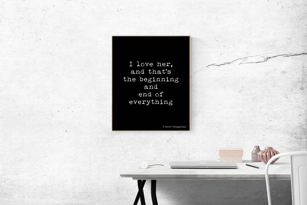F Scott Fitzgerald Love Quote Print - BookQuoteDecor