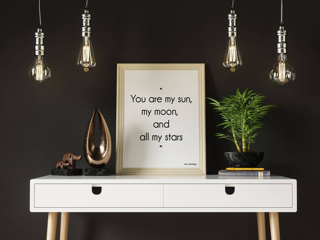 e.e. cummings Love Quote Print, My Sun My Moon - BookQuoteDecor