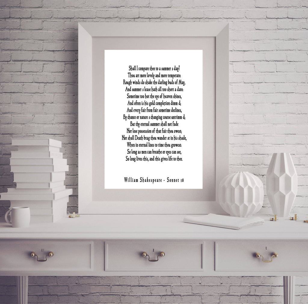 Sonnet 18 Shakespeare print, Love Poem, Unique Wedding Gift, Shall I Compare Thee to a Summer's Day Love Poetry Art for Gallery Unframed - BookQuoteDecor