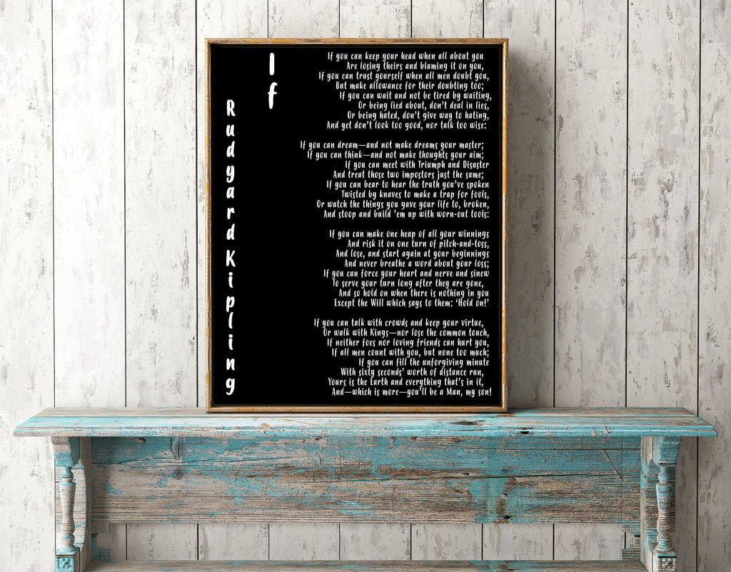 If Rudyard Kipling Art Print - BookQuoteDecor