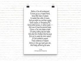 TS Eliot Art Cat Poem, Old Possum's Book of Practical Cats Wall Art Print, Unframed Cat Lover Quote, cat lovers decor - BookQuoteDecor