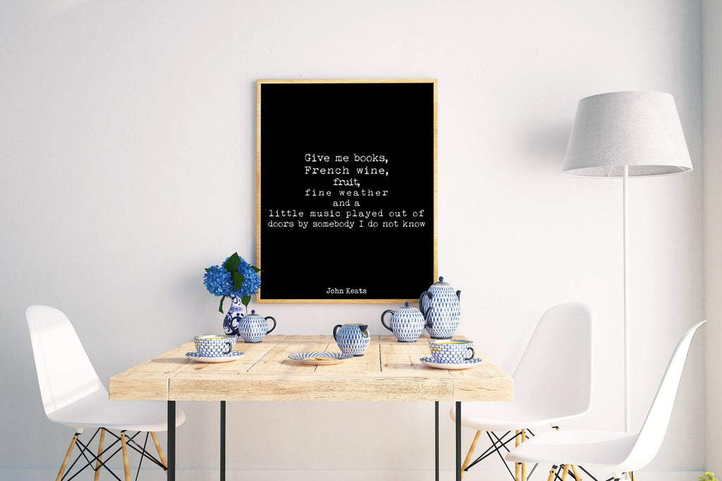 John Keats Quote Print - BookQuoteDecor