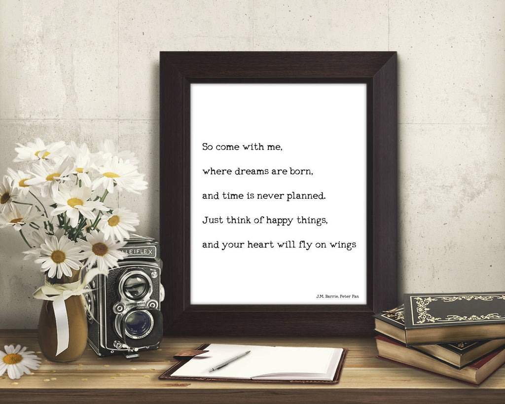 Peter Pan Quote Print - BookQuoteDecor