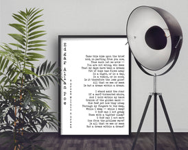 Edgar Allan Poe Poem A Dream Print - BookQuoteDecor