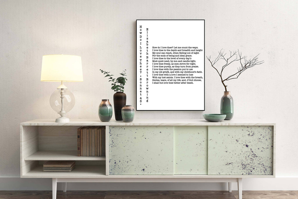 How Do I Love Thee Poetry Quote Art Elizabeth Barrett Browning Unframed Wall Art Print, Poetry Print for Bedroom or Living Room Wall Decor - BookQuoteDecor