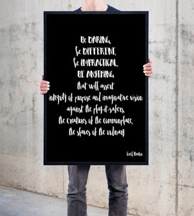 Be daring Be Different Framed Print - BookQuoteDecor