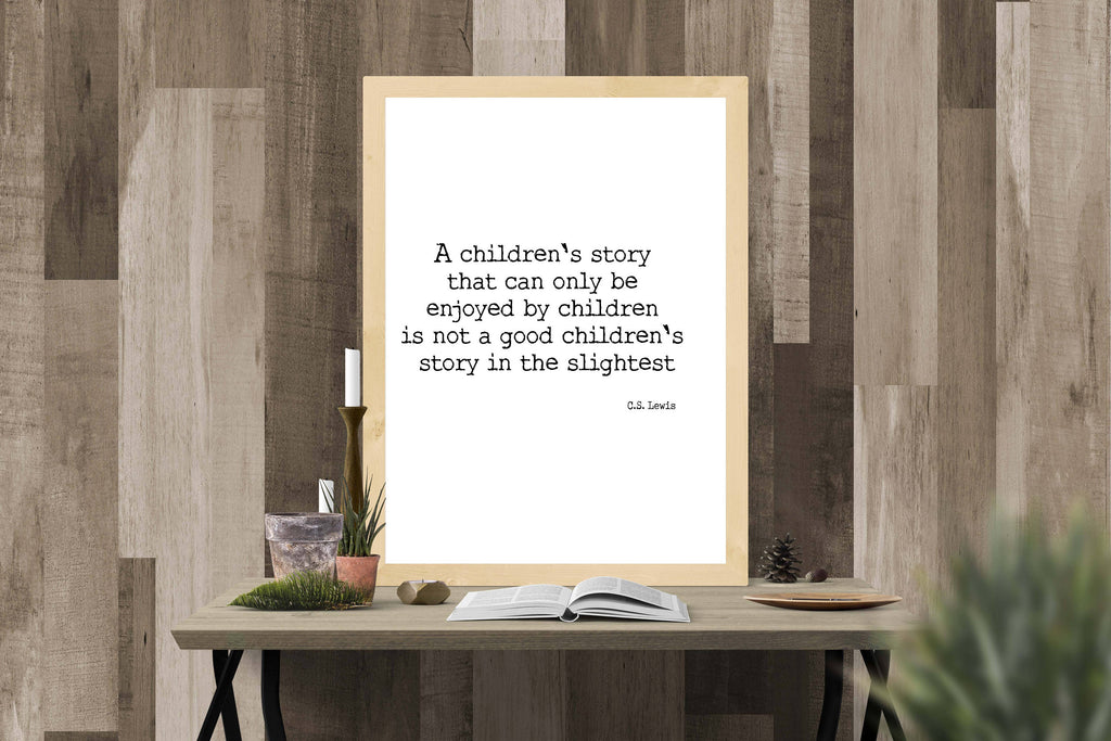 Book Reading Print, CS Lewis Quote, unframed literary art print, A childrens story quote print, ideal literary gift print - BookQuoteDecor