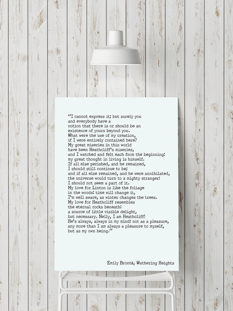 Wuthering Heights Print, Emily Bronte Living Room Decor, Romantic Book Quote Typography Wall Decor, My Love for Heathcliff Unframed Print - BookQuoteDecor