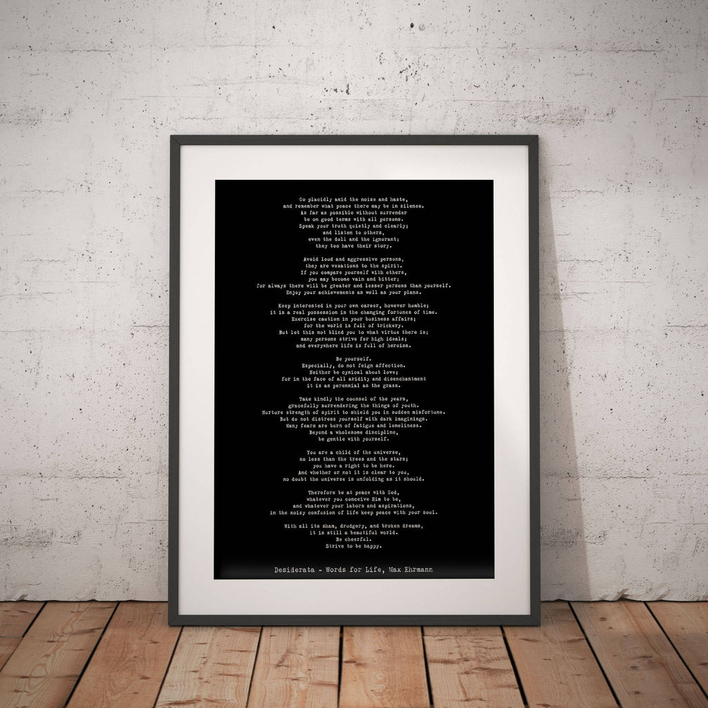 Max Ehrmann Desiderata Art Print - BookQuoteDecor