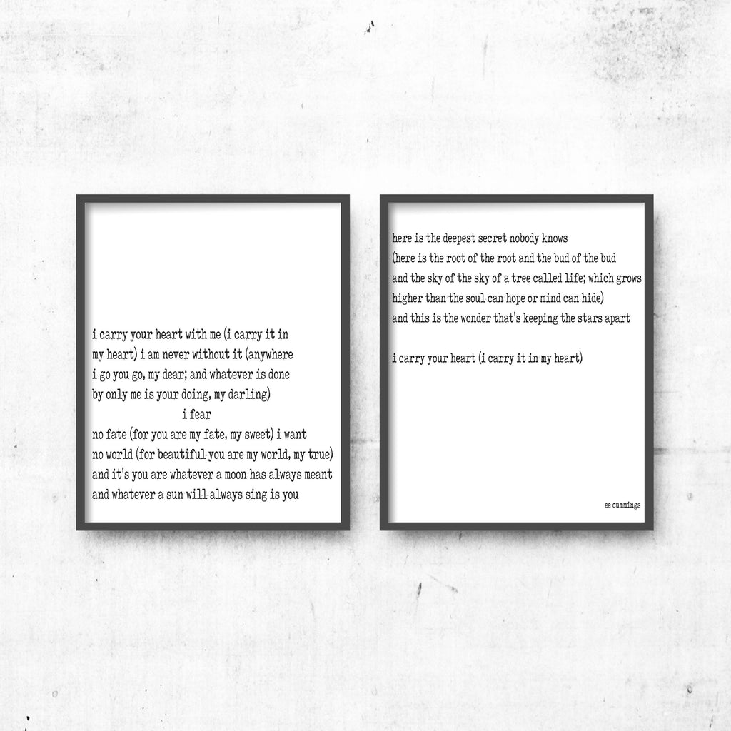 i carry your heart love poem prints set of 2 - BookQuoteDecor
