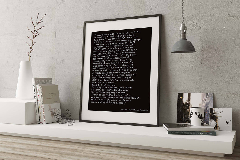 Jane Austen Quote from Pride & Prejudice Print, Romantic Book Quote Print, Love Declaration Mr Darcy Quote Unframed - BookQuoteDecor