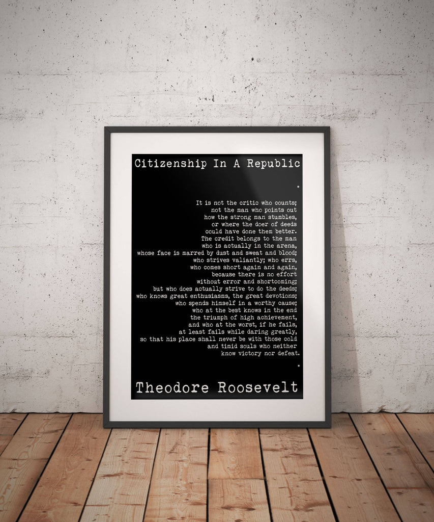 Theodore Roosevelt quote, Political Quote, Man in the Arena, Home Office Decor American History Teddy Roosevelt Speech  Unframed Wall Art - BookQuoteDecor