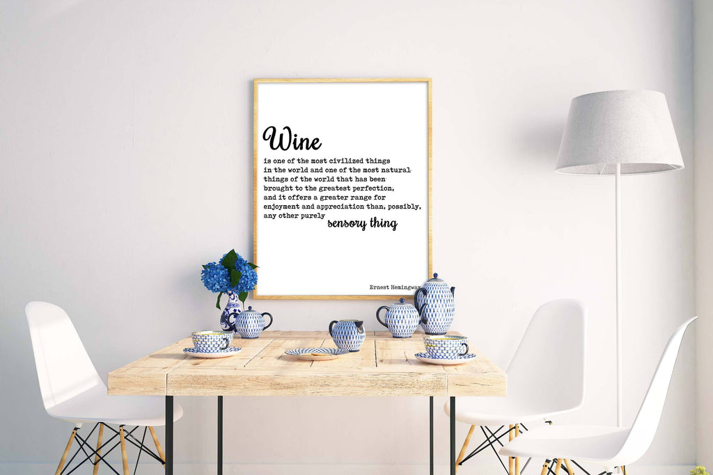 Hemingway quote print about Wine - BookQuoteDecor