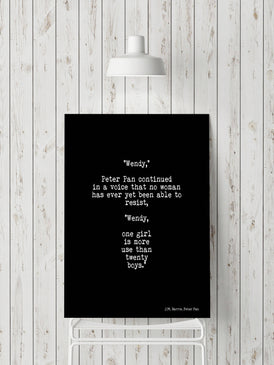 Peter Pan Quote Art Print, One Girl Is More Use Than Twenty Boys Girl Power Wall Art, Teen Room Decor, Unframed Print in Black And White - BookQuoteDecor