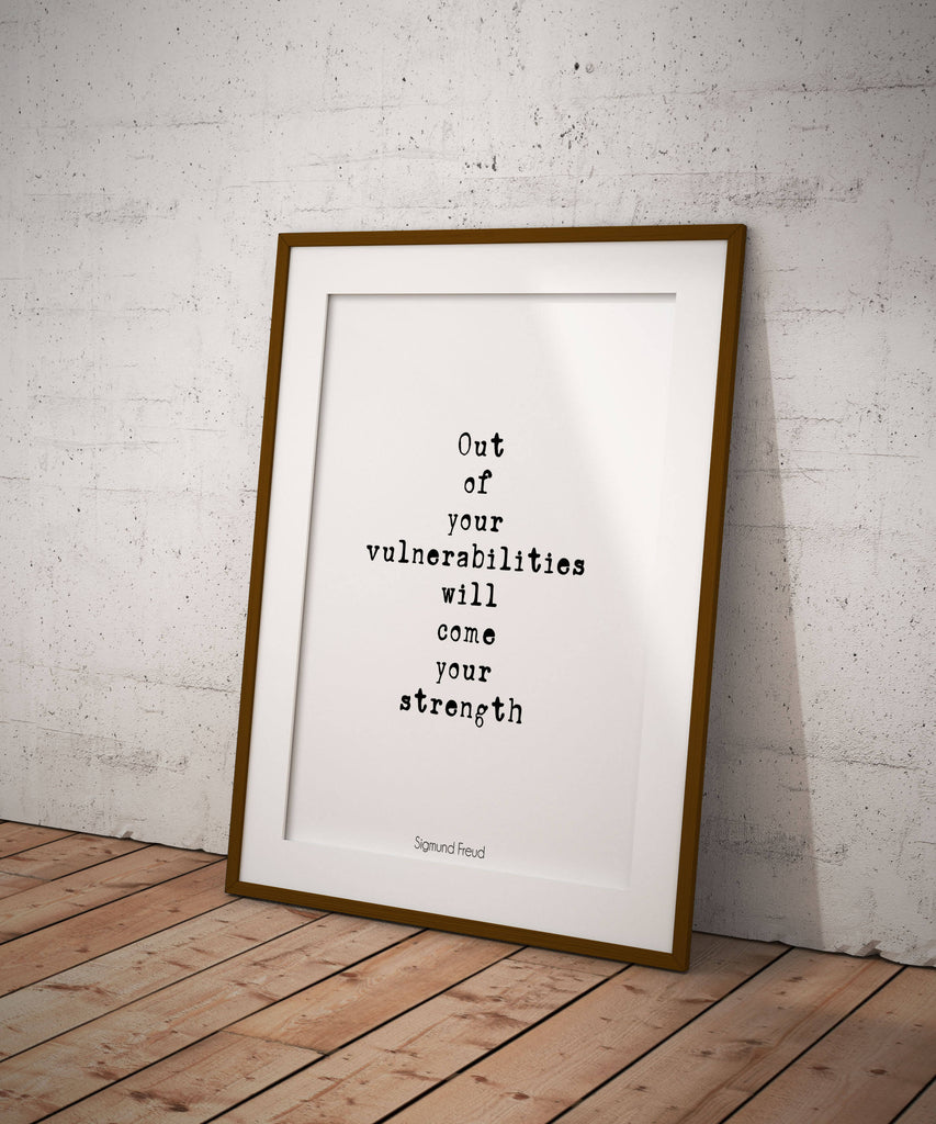Sigmund Freud Strength Quote, Inspirational Poster, Freud Print, Psychology Art Print Gift Unframed - BookQuoteDecor