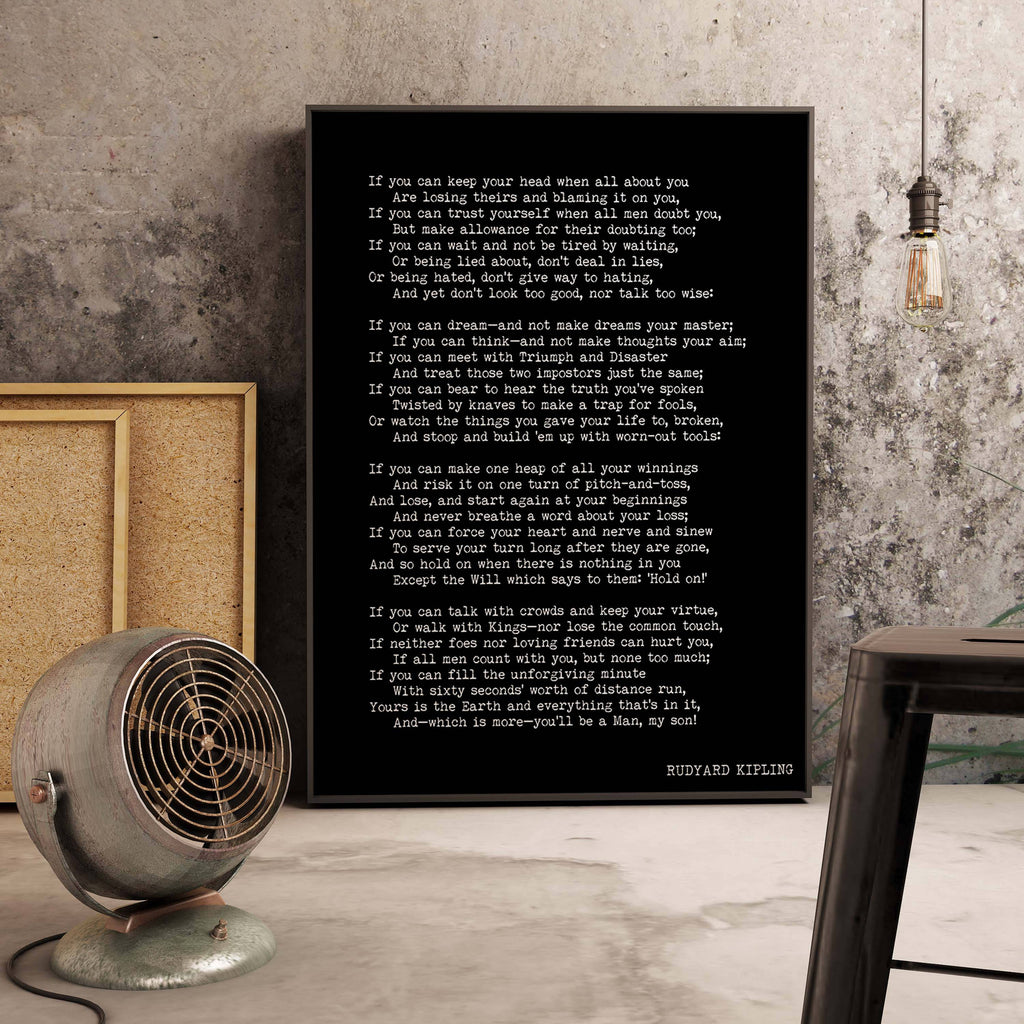 Framed IF Rudyard Kipling Poem - BookQuoteDecor
