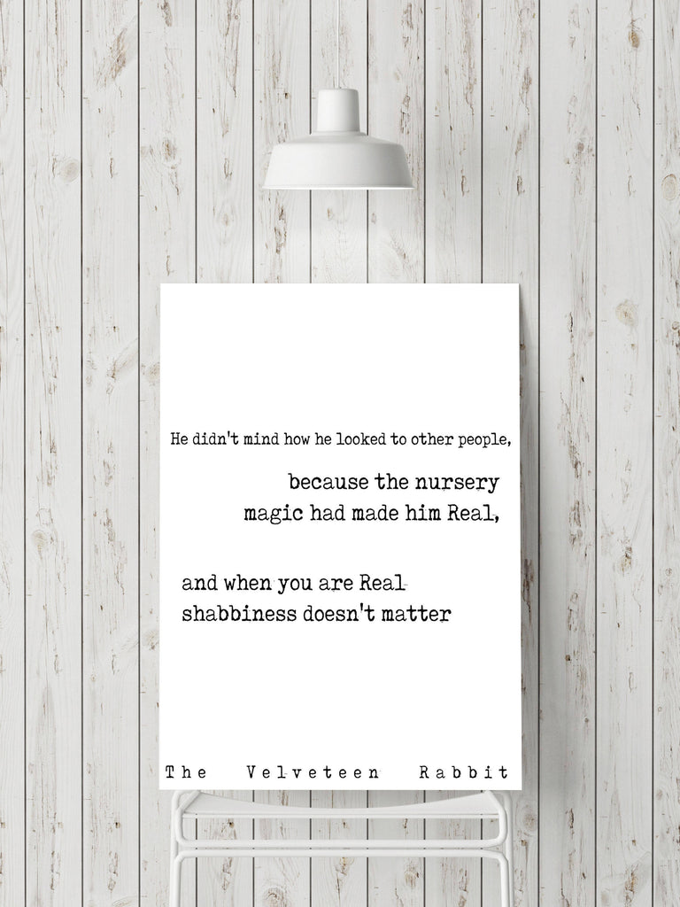 Nursery Decor Velveteen Rabbit quote, Kids Room Decor, Black & White Nursery Prints, Book Quote Print Once you are real, Margery Williams - BookQuoteDecor