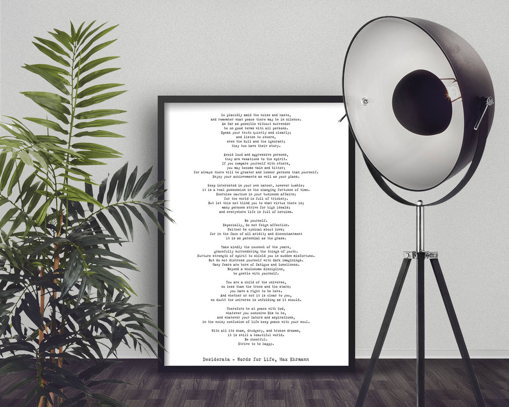 Print Desiderata Framed, 12x16 poem print, Max Ehrmann Framed Art Literary Poster, literary quote print, motivational poster - BookQuoteDecor