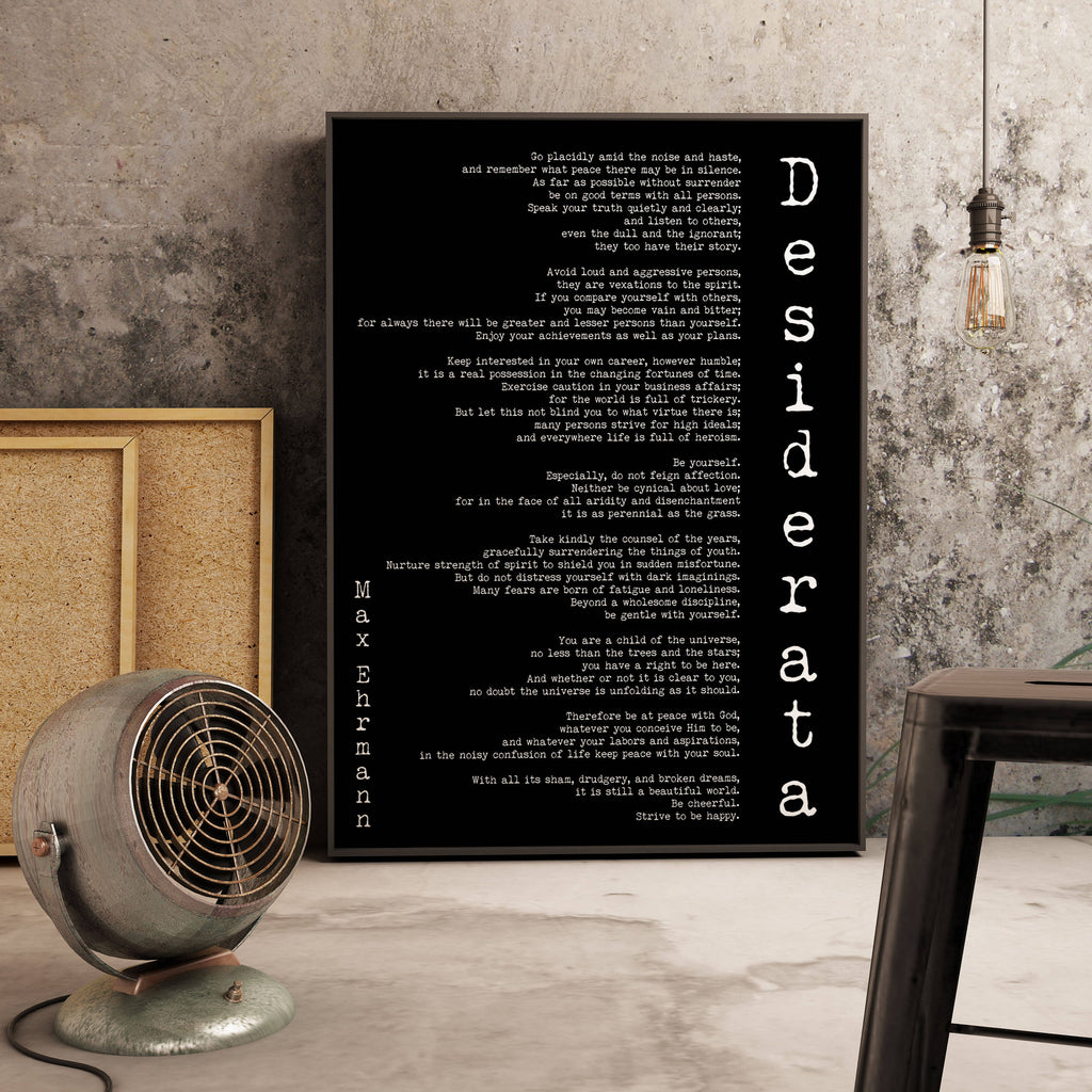 Poem Art Desiderata Print, Minimalist Poster, Max Ehrmann Literary Poster, Unframed Literary Quote Print, Motivational Poster, Office Art - BookQuoteDecor