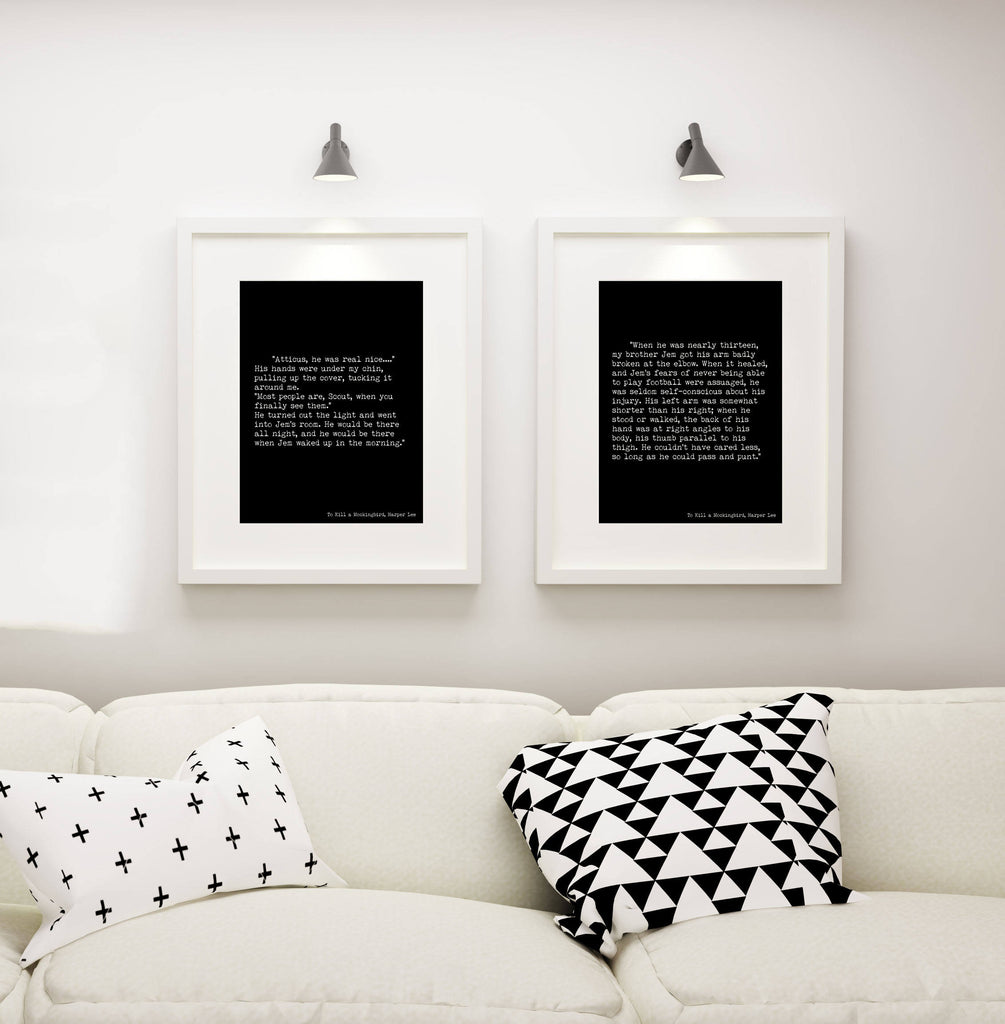To Kill a Mockingbird Prints, Harper Lee Book Art, Set of 2 art prints, Opening & Closing Lines Black and White Wall Art Decor Unframed - BookQuoteDecor