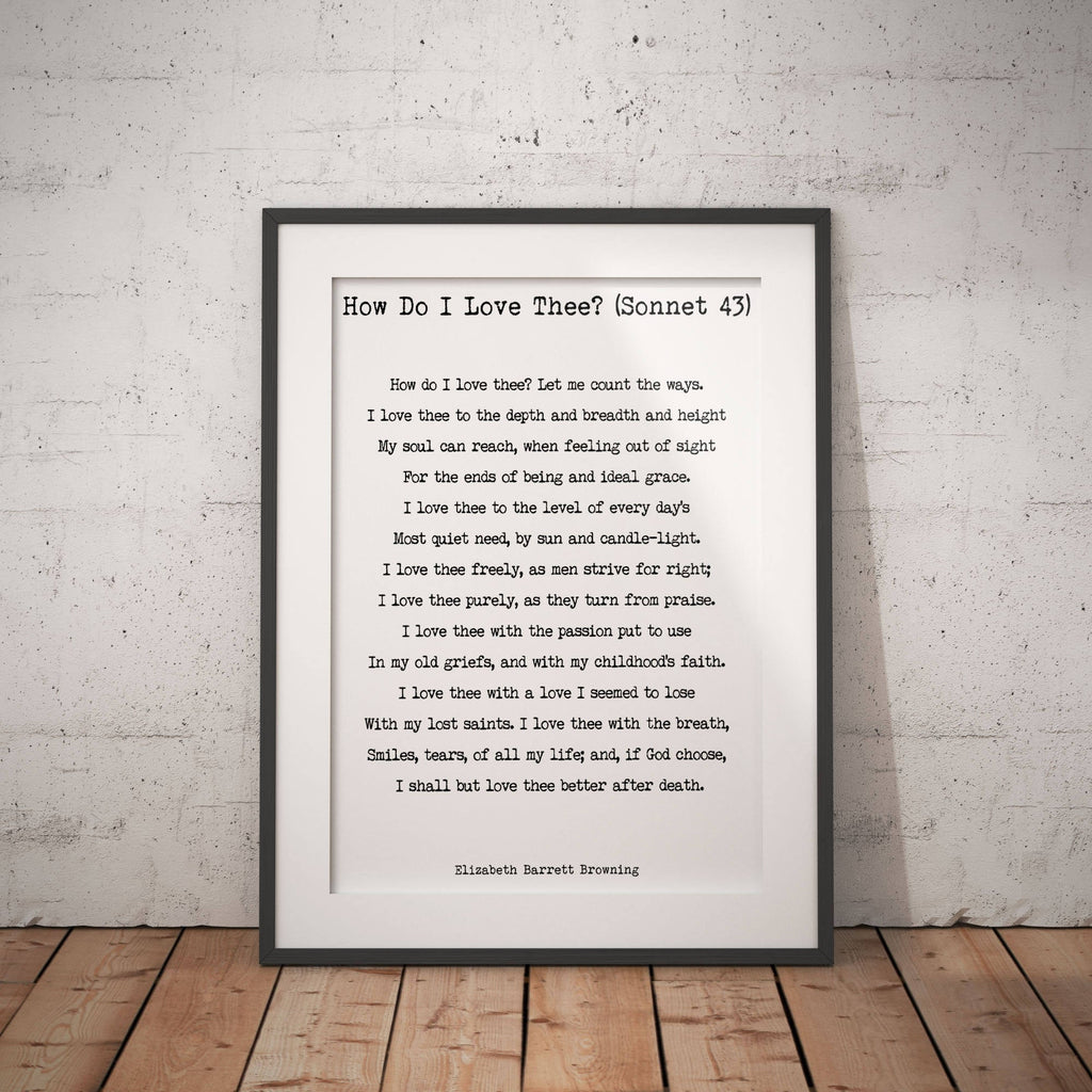 Wall Art Print Elizabeth Barrett Browning, How Do I Love Thee Poetry Quote Art, Unframed Quote Poem Print, Poetry Print Bedroom Wall Decor - BookQuoteDecor