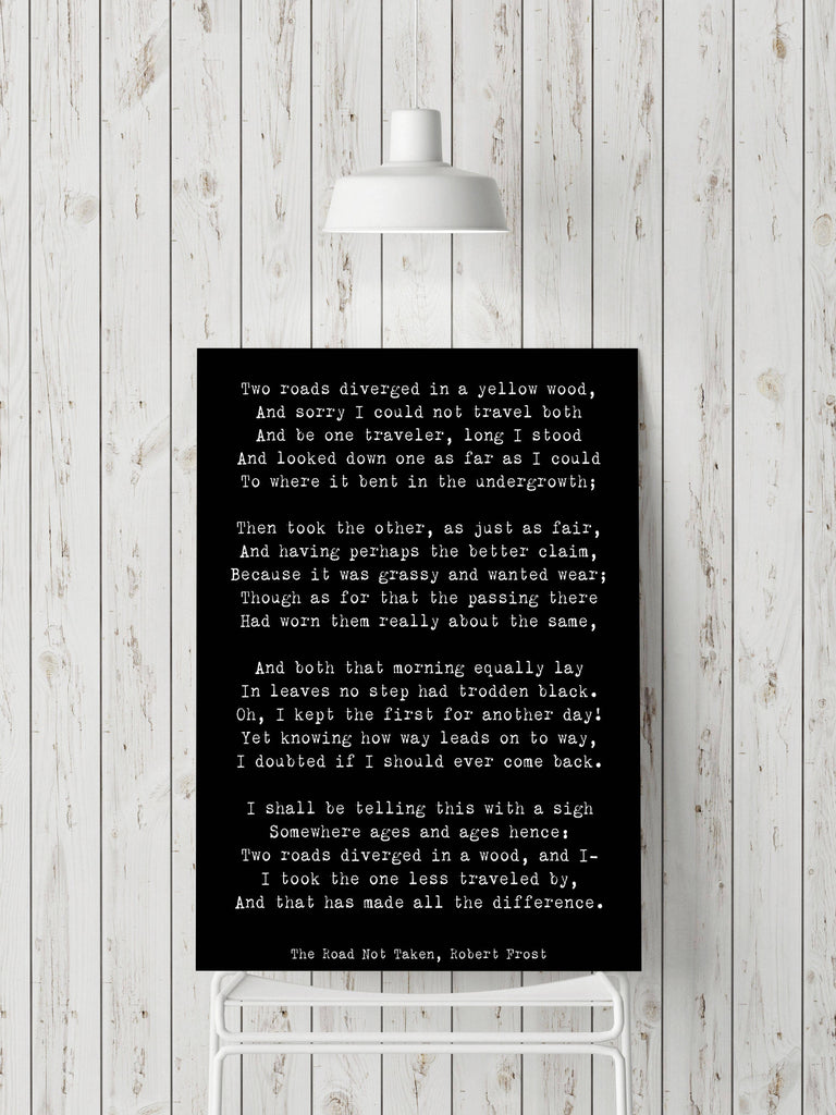 Robert Frost Poem Quote Print, The Road Not Taken Poem Poster, Two Roads Diverged Literary Gift Print, Yellow Wood Poetry Print, Unframed - BookQuoteDecor