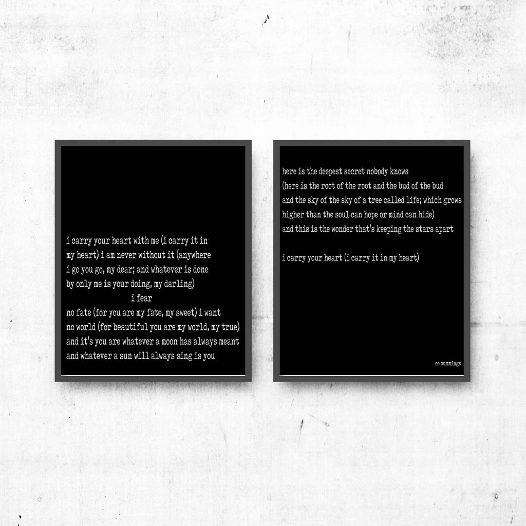 i carry your heart love poem prints set of 2, ee cummings art, ee cummings print art, wedding poem print, black & white art decor, Unframed - BookQuoteDecor