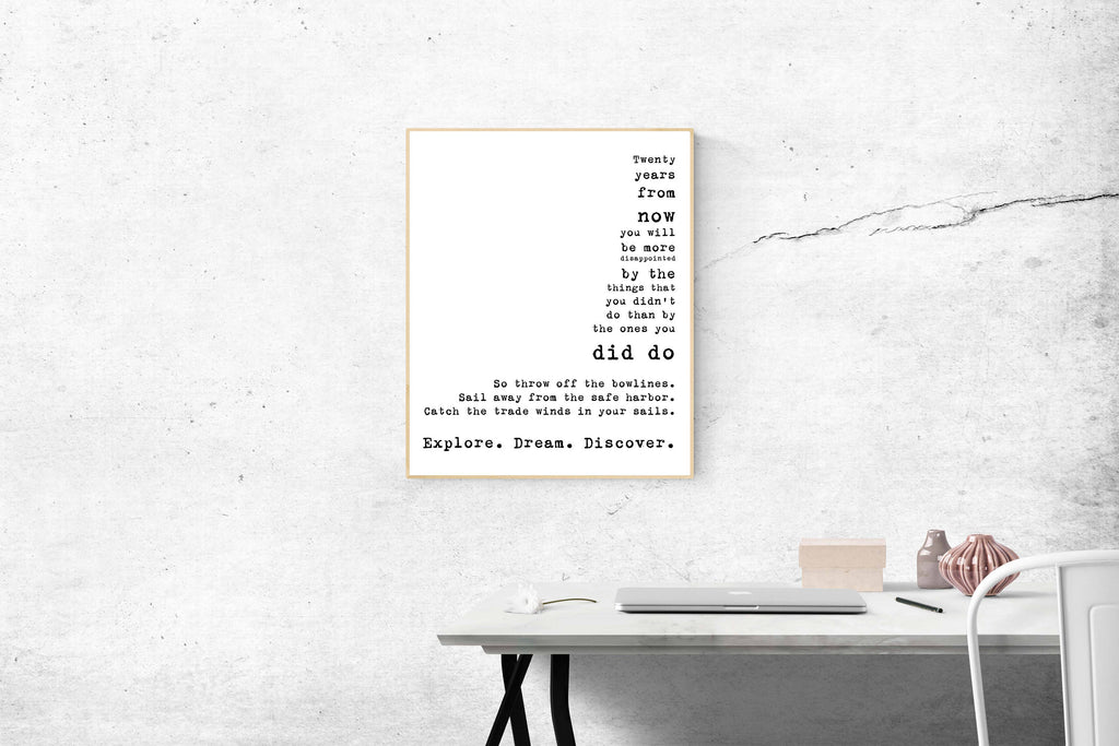 Quote Art Print Travel Decor, Mark Twain Inspirational Quote, Travel Art Unframed Home Decor, explore dream discover, twenty years from now - BookQuoteDecor
