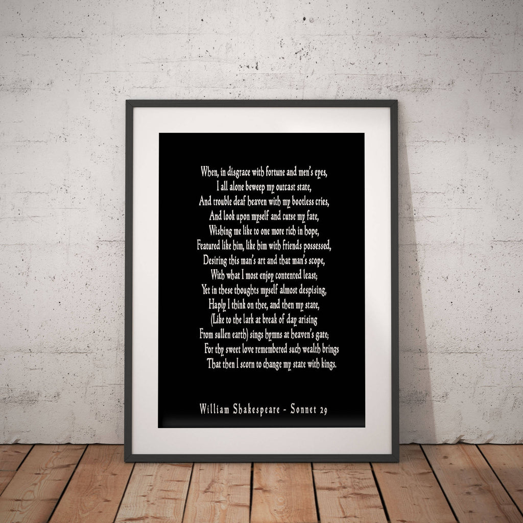 Sonnet 29 Shakespeare Wall Art, Love Poetry Art for Bedroom Decor, Unframed Shakespeare Quote, When In Disgrace With Fortune and Men's Eyes - BookQuoteDecor