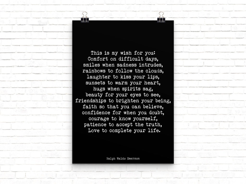 Ralph Waldo Emerson Quote My Wish For You - BookQuoteDecor