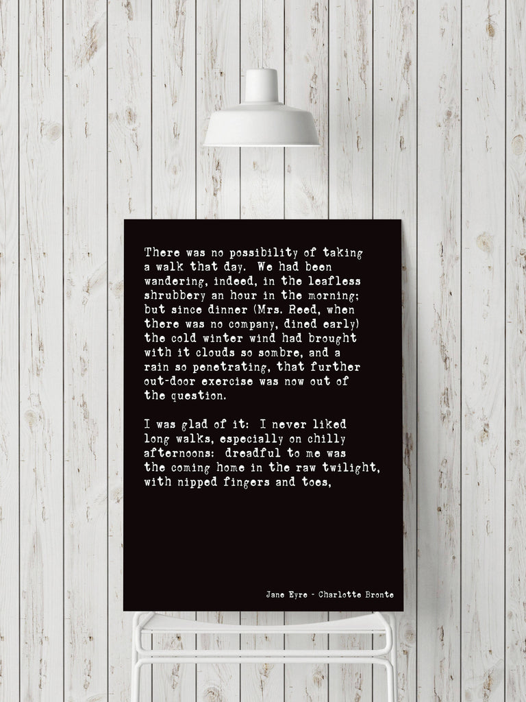 Jane Eyre Opening Lines Print - BookQuoteDecor