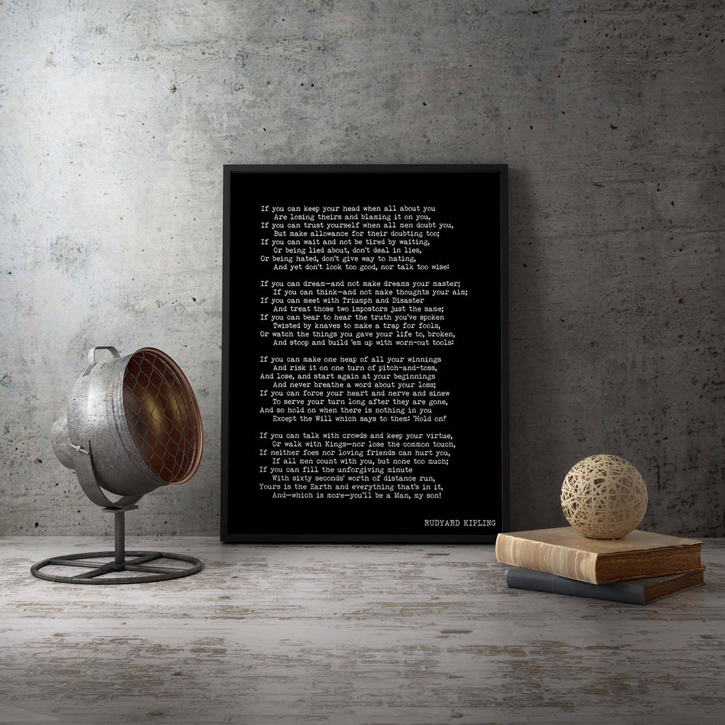 Large Framed Print Rudyard Kipling Poem 16x20 or 18x24, If Poetry Art Print, Inspirational Black & White Home Decor - BookQuoteDecor