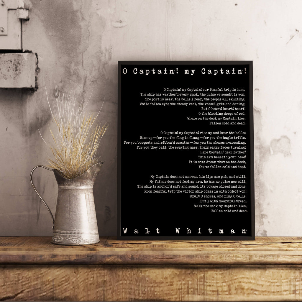 Framed Art - Large Poem Art O Captain Print size 16x20 or 18x24, Walt Whitman Literary Poster, Leaves of Grass literary quote print, - BookQuoteDecor