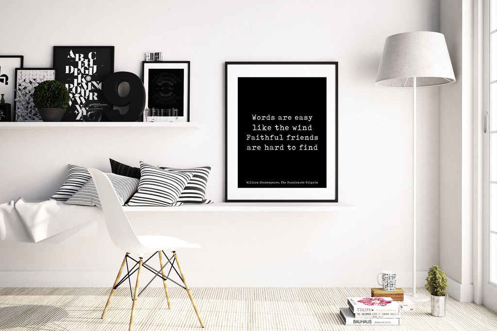 Shakespeare Friendship Quote Wall Art In Black & White, Perfect Gift For Best Friend, Faithful Friends Are Hard To Find Unframed - BookQuoteDecor
