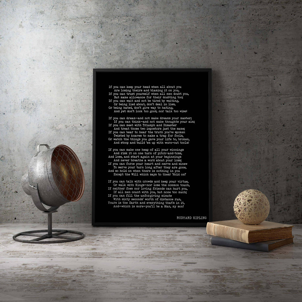 IF Framed Print Rudyard Kipling Poem - BookQuoteDecor