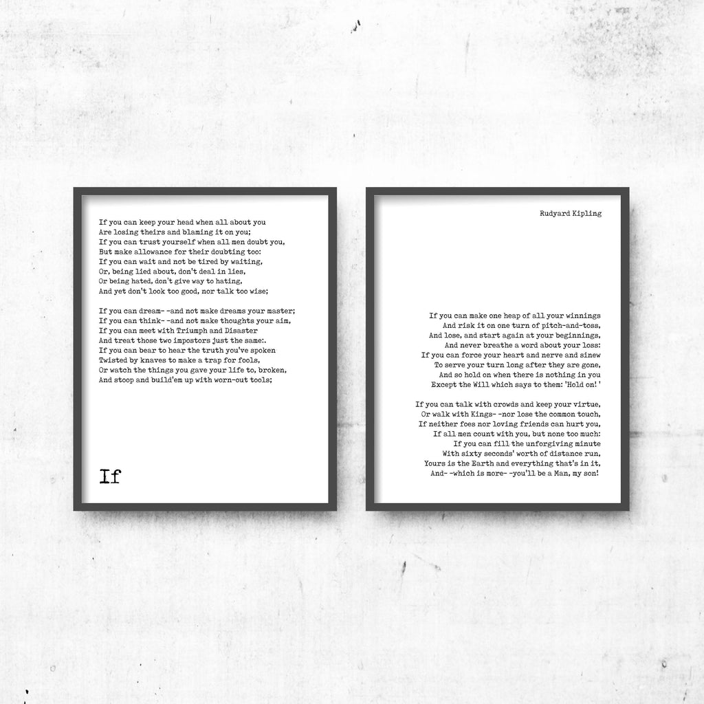 If by Kipling, If poem prints set of 2, Rudyard Kipling art, Motivational Poetry, Inspirational poem gift, black & white art decor, Unframed - BookQuoteDecor