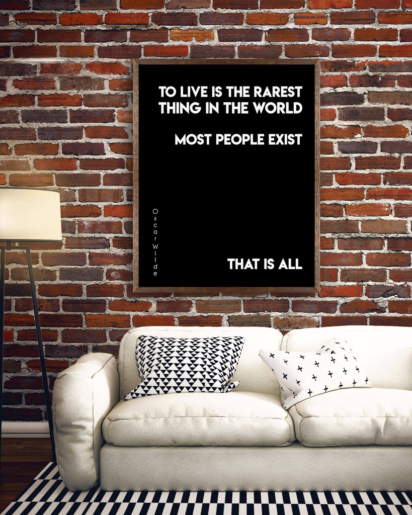 Oscar Wilde Life Quote, To Live Is The Rarest Thing Black And White Art, Motivation Quote Inspirational Print For Home Decor Unframed - BookQuoteDecor