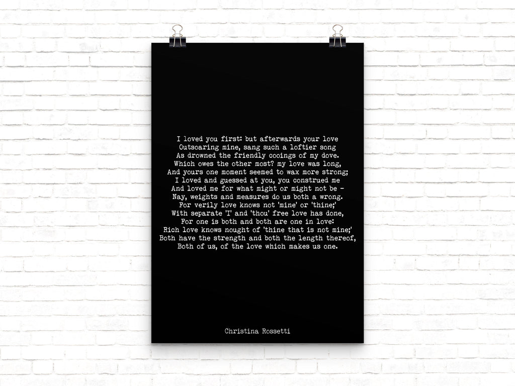 Christina Rossetti I Loved You First - BookQuoteDecor