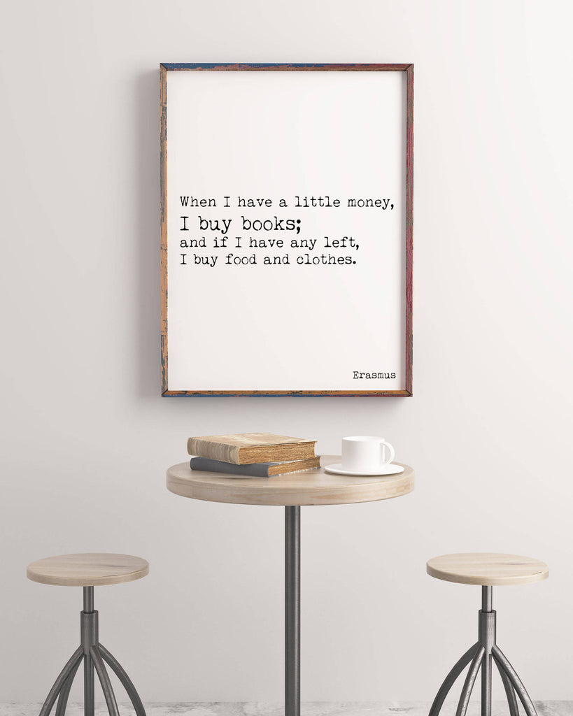 Erasmus Book Quote Print - BookQuoteDecor