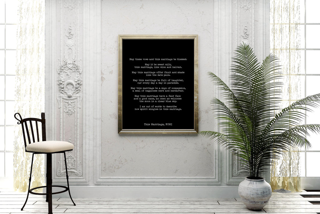 RUMI Marriage Poem Gift, Wedding Print, Love Poem Engagement Gift Idea, Poetry Quote Art Anniversary Present, Unframed - BookQuoteDecor