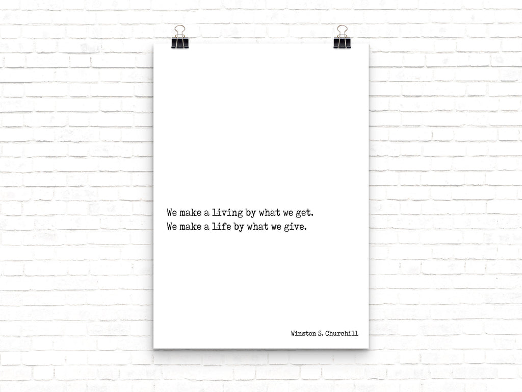 Winston Churchill Life Quote Modern Minimalist Art Inspirational Print, Black & White Office Decor, Scandinavian Style Unframed Poster - BookQuoteDecor