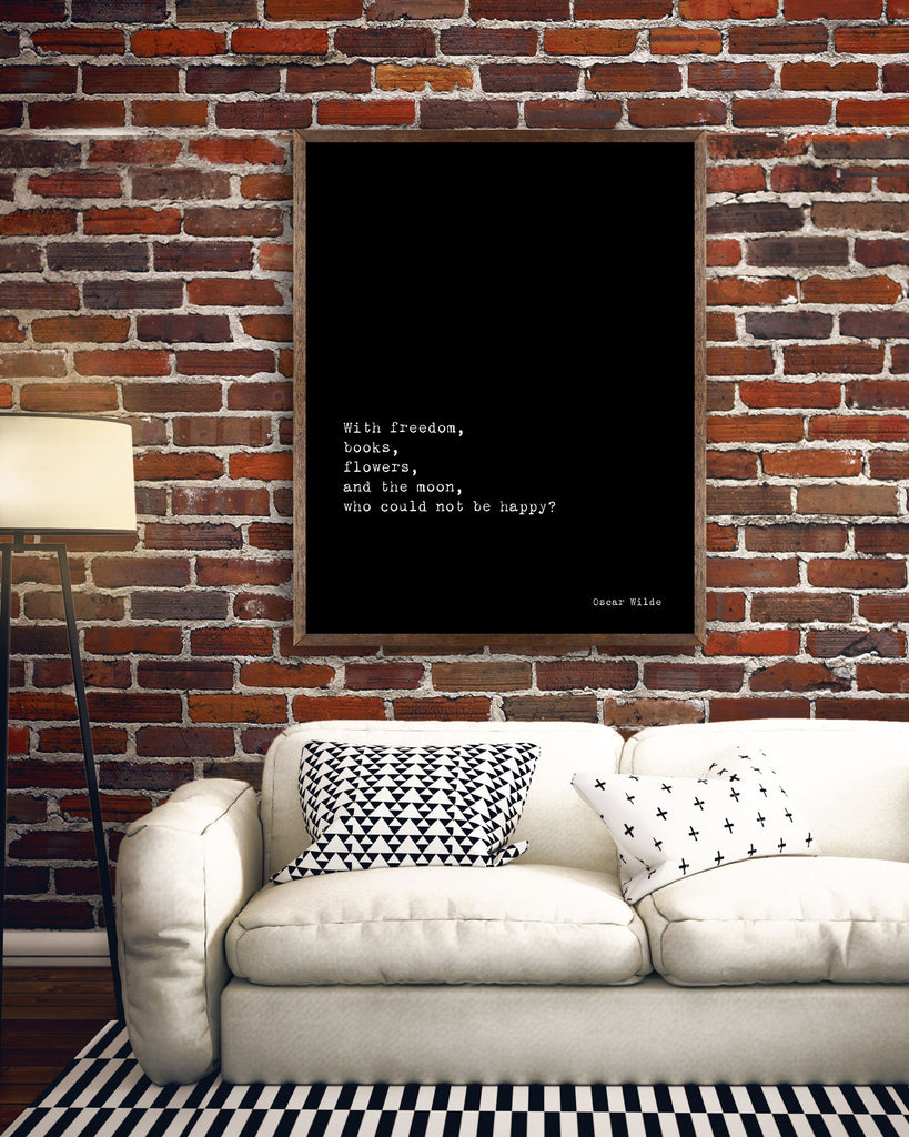 Oscar Wilde Life Quote, black and white art, motivation quote inspirational print for home decor, Freedom, Books, Flowers, Happy, Unframed - BookQuoteDecor