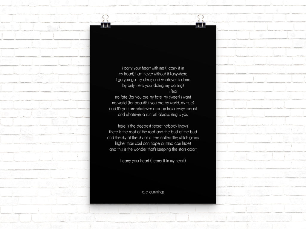 i carry your heart poetry quote art - BookQuoteDecor