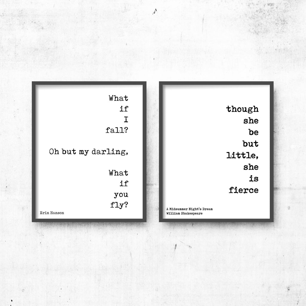 What if you Fly & She is Fierce Print Set - BookQuoteDecor